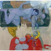 Ruprecht von Kaufmann, Paar auf dem Sofa 2019, Öl auf Linoleum auf Holz, 122 x 153 cm Foto Stefan Maria Rother