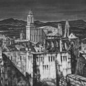 Sir Henry George Rushbury, RA, RWS, RE (1889-1968) - The Walls of Gerona, Exhibitor: Aquila Fine Art