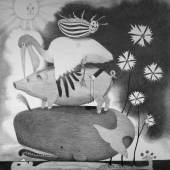 Sabian Baumann, Selbstporträt mit Blumen und Tieren, aus der Serie Liebe und Traum, horizontales Paradies, Bleistift auf Papier, 137 x 11.5 cm, 2012, Leihgabe aus Privatbesitz