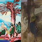 David Salle, Angel, 2000 Öl und Acryl auf Leinwand und Leinen Zwei Leinwände, 183 x 244 cm Collection privée, Genève; Courtoisie de Simon Studer Art, Genève © 2015 ProLitteris, Zürich