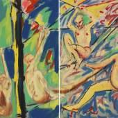 118000497 SALOME Gemeinschaftsarbeit mit Luciano Castelli. Seiltänzer (Diptychon), 1979. Acryl Schätzpreis: € 15.000 - 20.000