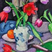 Samuel John Peploe, Still Life with Tulips and Fan, est, £300,000-500,000