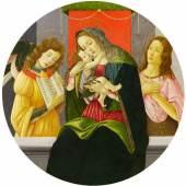 Sandro Botticelli und Werkstatt  Madonna mit dem Kind, Johannes dem Täufer und einem Engel | Ø 87,5cm  Tempera / Öl auf Pappel  Schätzpreis: 260.000 – 300.000 Euro