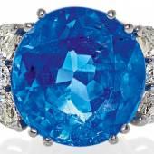 Saphir-Diamant-Ring 1 unbeh. Burma-Saphir ca. 10 ct 6 Diamanten im Brillant- & Navette-Schliff  Taxe: €25.000 – 28.000