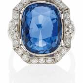 Saphir-Diamant-Ring England | Um 1960 1 facettierter Saphir ca. 11,3 Karat Taxe: 22.500 – 25.000 Euro