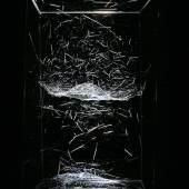 Tomás Saraceno, Hybrid semi-social musical instrument Leo II Dwarf: built by Agriope anasuja, Cyrtophora citricola and Cyrtophora moluccensis, 2015, Spidersilk, carbon fibre, plexiglass, glass, light, tripod. Courtesy: Galerie Esther Schipper und Tomás Saraceno