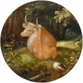 ROELANT SAVERY  Liegende Kuh in einer Landschaft. 1604.  Öl auf Holz. D 17,5 cm.  Ergebnis: CHF 128 000