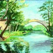 The Bridge at Aix-en-Provence, 1946.   Leihgabe der Familie Sax  Sax-Farben, Churchill Heritage Ltd.