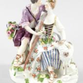 Schäfergruppe Porzellan, Meissen, 19.Jh. (Kat.-Nr. 81) Schätzpreis 750,- EUR