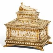 Museale Schatulle im Stil Renaissance Süddeutschland | Um 1860 | Umkreis des Theodor Wagner (1800-1880) | Elfenbein | gold und farbig gefaßt | 25,5x24,5x18cm Ergebnis: 23.220 Euro