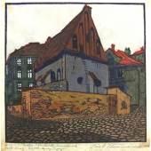 Carl Thiemann, Die Alt-Neu-Synagoge in Prag, 1906, Farbholzschnitt auf Japanpapier, Handdruck, Kunstforum Ostdeutsche Galerie Regensburg