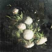 """Scherman, Tony (geboren 1950 in Toronto) """"A Hubert Robert et à Max Jacob"""". 1999. Aus der Serie """"About 1789"""". Enkaustik auf Leinwand. Oben rechts betitelt """"A Robert"""". Verso signiert, datiert und betitelt. 152,2x152,5 cm. Schätzpreis:25.000 - 35.000 CHF"""