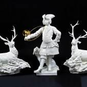"Bedeutende Porzellangruppe ""Piqueurs"" und ""Hirsche"", Käthe Scheurich (Entwurf) 1937, Meissen (Ausführung) 1994/95, Taxe 40.000 – 50.000 € (7256-1)"