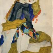 Egon Schiele, Knieende Mädchen, 1911 Gouache, Aquarell und Bleistift auf Papier 47,2 x 31,5 cm