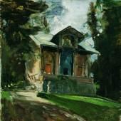 Emil Jakob Schindler  Das Atelier des Malers Heinrich von Angeli (1840-1925) in der Reichenau, 1884  Öl auf Holz, 22 x 22 cm  © Belvedere, Wien