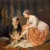 """Heinrich Schlesinger (1814-1893) Kammermädchen"""" Öl/Leinen signiert, datiert: 1861 Kunsthandel u. Antiquitäten Sonja Reisch"""