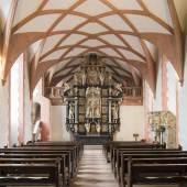 Bildtitel: Schloss Johannisburg, Schlosskapelle, Altar und Kanzel von Hans Juncker  Foto: Foto Alfen, Aschaffenburg © Bayerische Schlösserverwaltung