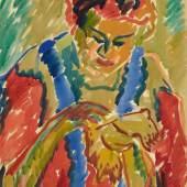 Lot 234 Nr. 394 473 Karl Schmidt-Rottluff Stickendes Mädchen. 1909 Aquarell über Kreide auf Karton, 66 x 46,8 cm Schätzpreis: € 250.000 – 350.000,-