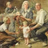 """Schmitz(-Wiedenbrück), Hans, Familienbild"""", dargestellt ist eine sechsköpfige Familie in einer Stube,  Limitpreis: 2.400"""