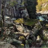 Carl Schuch  Im Tal des Doubs, um 1890  Öl auf Leinwand, 62 x 83 cm  Bayerische Staatsgemäldesammlungen,  © Neue Pinakothek, München