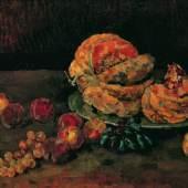 Carl Schuch  Stillleben mit Kürbis, Pfirsich und Weintrauben, um 1884  Öl auf Leinwand, 62 x 81 cm  © Belvedere, Wien