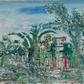 """Wilhelm Thöny, 1888 - 1949, """"Garten in Südfrankreich"""" Öl auf Leinwand auf Karton, signiert, 1933-36, 26,2 x 37 cm, Wv. Nr. 324 Foto: © Schütz Fine Art"""