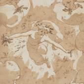 HANS I ROTTENHAMMER DER ÄLTERE (1564- 1625) (ATELIER ODER UMKREIS), ENGEL MIT SCHWEBENDEN PUTTI, Feder in Schwarz und Braun, teilweise braun laviert auf hellbeigem Papier. 18 x 12 cm. Erlös 11.250,-€