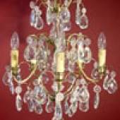 Katalog-Nr. 1018 - Schwedischer Prunklüster um 1900 im Barockstil aus Messing mit üppigem Kristallbehang
