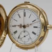 Schweizer Goldsavonnette mit Chronograph und 1/4-Stunden-Repetition Mindestpreis:1.400 EUR Aufrufpreis:1.400 EUR