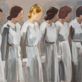 Gideon Rubin Six Girls in Uniform 2019 Oil on linen180 x 240 cm / 70 3/4 x 941/2 in