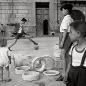 Herbert List, Boys Playing Soccer, Palermo, Italy, 1950, Gelatin silver printing, Vintage, 23 x 29,5 cm / 9 x 11 5/8 in  © Herbert List Estate, Hamburg, Germany