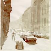 Waechter, Friedrich Karl. Männer auf verlorenem Posten.  Karikaturen  von  Friedrich  Karl  Waechter.  Diogenes  Verlag,  Zürich,  1983.  Mit  den  15  Ori-ginallaviszeichnungen zu 'Herr Schmidt'. Die  Zeichnungen  im  Format  32  ×   22  cm  sind  von  Waechter mit den passenden Versen und Bemerkungen für den Druck versehen. Sie sind in Passepartouts ein-gelegt,  auf  welche  der  passende  Vers  kopiert  wurde  und  in  eine  Schatulle  aus  grauem  Kalbleder  mit  dem  gleichen Dekor eingeleg