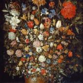 Jan Brueghel d. Ä. 1568–1625 tätig in Rom, Mailand, Antwerpen und Brüssel  Großer Blumenstrauß in einem Holzgefäß 1606/07