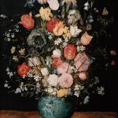 Jan Brueghel d. Ä. 1568–1625 tätig in Rom, Mailand, Antwerpen und Brüssel  Blumenstrauß in einer blauen Vase um 1608