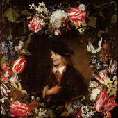 Jan Lievens 1607–1674 tätig u. a. in Leiden, Amsterdam, London und Antwerpen Jan van den Hecke 1620–1684 tätig in Antwerpen, Rom und Brüssel  Bildnis eines jungen Mannes im Blumenkranz um 1642/44