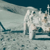 Lot 220.   David Scott (Apollo 15).   1971.   Portrait of James Irwin at Hadley Base, EVA 1. 26 Jul 1971- 7 Aug 1971.