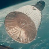 Lot 37. T  homas Stafford (Gemini VI).   1965.   First rendezvous in space: Gemini VII spacecraft orbiting the blue Earth. 15-16 Dec 1965