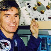 The ESA Astronaut, Dr. Ulf Merbold, during his training for the IML-1 Mission