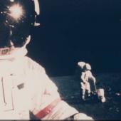 Lot 210.   NASA (Apollo 14).   1970.   Close up of Alan Shepard at the lunar science station, EVA 1. 31 Jan 1971–9 Feb 1971.