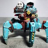Sculptor Creates a Laser Equipped Post-Apocalyptic Thomas the Tank Engine Hexapod Robot