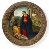 Sebastiano Mainardi (1466 – 1513) - zugeschrieben Die Anbetung des Kindes Öl auf Pappelholz | Ø 83cm