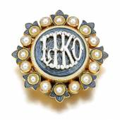 Seed pearl and enamel brooch, 1890s  Estimate:  1,500 - 2,000 GBP