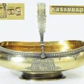 Seltene russische Henkelschale. Moskau Ende 19. Jahrhundert. Silber, 84 zolotnik vergoldet. Meister: Iwan Petrowitsch Chlebnikow. Mindestpreis:600 EUR