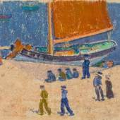 Ivo Hauptmann Am Fischerstrand. Hiddensee, 1930er Jahre, Pastell, 230 x 345 mm, aus dem Angebot der 39. Ahrenshooper Kunstauktion