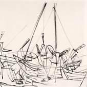 Ernst Wilhelm Nay: Ostseefischer,  1936, Rohrfeder/Tusche, 470 x 630 mm