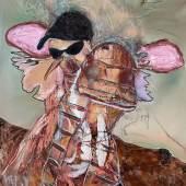 Serge Serum - Selbst, 2021, Öl, Sprühfarbe, Pastellkreide, Kohle auf Leinwand, 101x76cm