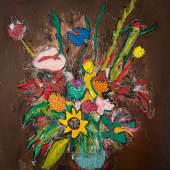 Serge Serum, Sorry For Your Loss, 2021, Öl, Sprühfarbe, Pastellkreide, Kohle auf Leinwand, 40x40cm