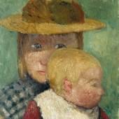 Paula Moderoshn-Becker: Brustbild eines Mädchens mit Strohhut und Kind im Profil, um 1903, Privatbesitz