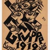 Otto Dix, Plakat für die erste Ausstellung der Dresdner Sezession - Gruppe 1919 im April 1919, Lithografie, Kupferstich-Kabinett, Staatliche Kunstsammlungen Dresden Foto: Andreas Diesend © VG Bild Kunst Bonn 2019