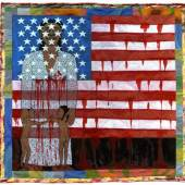 Faith Ringgold The Flag is Bleeding #2 (The American Collection #6), 1997 Story Quilt: acrylic on canvas with painted and pieced border  79 x 76 inches Forum Gallery, New York & Beverly Hills